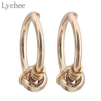ac DCCKO2Q Lychee Punk Stainless Steel Spiral Nose Ring Gold Silver Color Body Jewelry Fashion Jewelry For Women Men