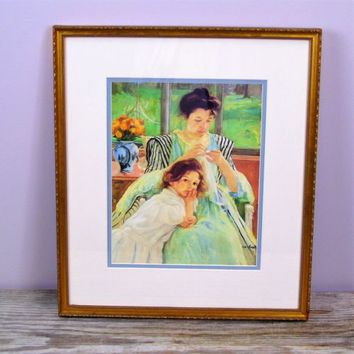 Young Mother Sewing by Mary Cassatt Framed Art Print