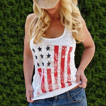 White American Flag Print Independence Day Round Neck Casual Vest