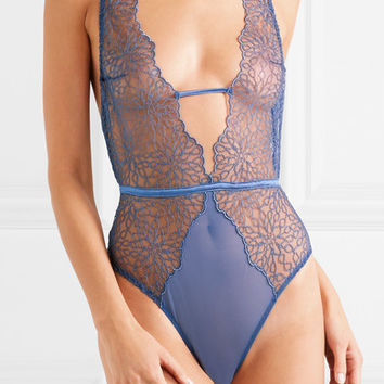 Coco de Mer - Lazuli embroidered silk-blend mesh bodysuit