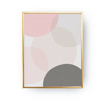 Pink Gray Pastel, Mid Century, Pastel Circle Print, Minimal Poster, Textured Watercolor, Geometric Shapes, Abstract Design, Contemporary Art
