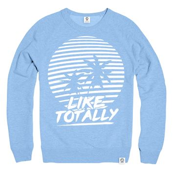 Like Totally Light Blue Logo Sweater