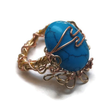 Turquoise Ring Wire Wrapped in Gold and Copper - Size 8 - RIN082