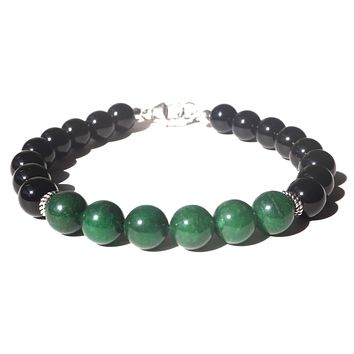 Mens GROWTH & PROSPERITY Heart Chakra Bracelet w/ Green Aventurine