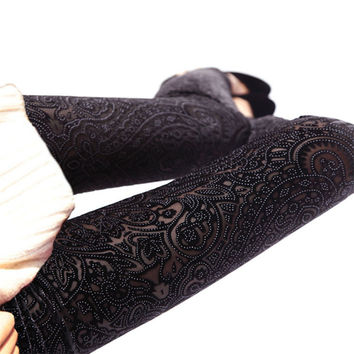 New Velvet Floral Hollow Tights