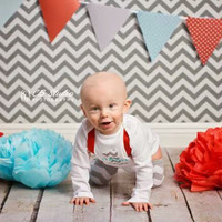 BOYS FIRST BIRTHDAY Outfit-Boys Birthday Bodysuit with Gray White Chevron 1, Red Suspenders with Gray and White Chevron Crawlers