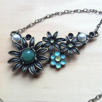 "Blue Green ""Hope"" Flower Cluster Necklace - Sunflower, Daisy"