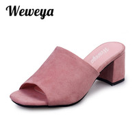 Weweya 2017 Summer Sandals Fashion High Heel Mules Square Peep-toe Shoes Woman Zapatos Mujer Chaussure Femme