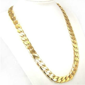 Factory Price 24inch 10mm 18K GP Yellow Gold Plated Men Chain Ne 96d3a4315d