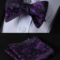 GC15 PURPLE Floral 100% Silk Butterfly Tie Self Tie Bow Tie Pocket Square Bow ti