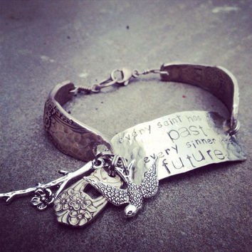 SAINTS and SINNERS sterling plated vintage flatware bracelet