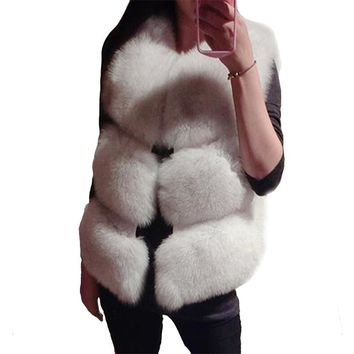 CHSDCSI Winter Women Coat Imitation Fox Fur Vests Sleeveless Vest Jacket Stitching Leather Grass Female Paragraph Luxury
