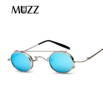 MUZZ Steampunk Round Metal Sunglasses for Men Women Removable Lens Retro Vintage Mirrored Circle Sun glasses small oval UV400