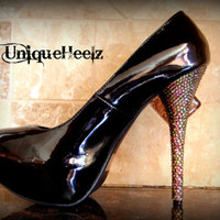 Swarovski Crystal  Black Platform Heels With Vitral by UniqueHeelz