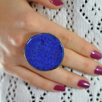 Ceramic ring, blue ring, big ring,  adjustable ring, gift for her, zolanna, author, natural ring cocktail boho style