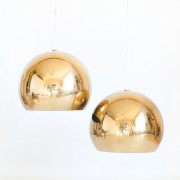 Vintage Brass Ball Pendant Lamps, Gold Tone Hanging Eyeball Lamp, Mid Century Decor Frandsen or Gino Sarfetti Style Lighting