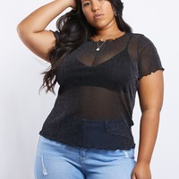 Plus Size Cami Mesh Sparkle Top