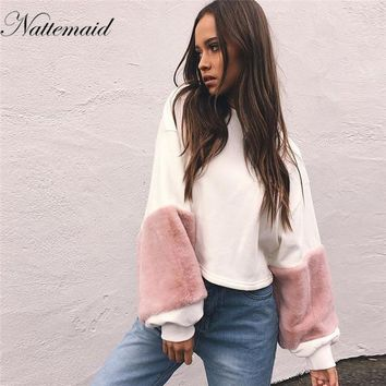 NATTEMAID 2017  Casual white sweatshirt women jumper Fashion patchwork long sleeve pullover Spring faux fur hoodies tops