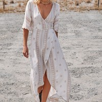 Mid Summer Nights Maxi Wrap Dress White