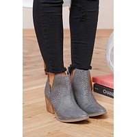 Rebellious Woman Not Rated Snake Skin Ankle Booties (Charcoal)