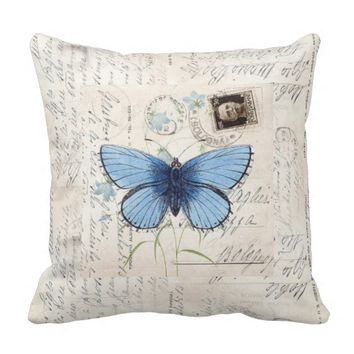 Vintage Blue Butterfly Italian Postcard Pillow