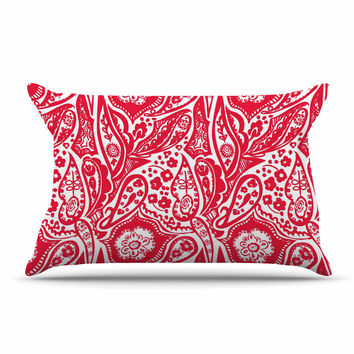 "Agnes Schugardt ""Paisley"" Paisley Red Pillow Case"