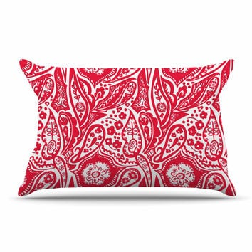 "Agnes Schugardt ""Paisley"" Paisley Red Pillow Sham"