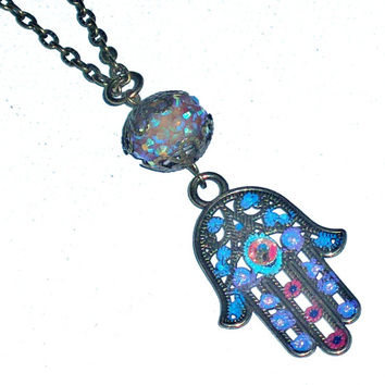 Hamsa Necklace Hand Painted Colorful Hand Of Fatima Pendant Hippie Boho Chic Long Necklace