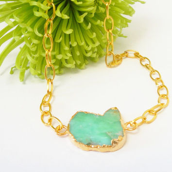 Chrysoprase Gold Chainmaille Necklace, Dipped in Gold  Green Chrysoprase Flat Double Bail Pendant Necklace