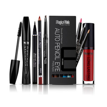 MagicalHalo Professional 6pcs/set Eye Makeup Set Eyeliner Eye Shadow Pen Mascara Lipliner Lipgloss Eyebrow Enhancer Make up Tool