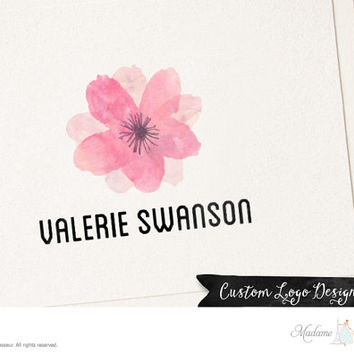 premade logo design watercolor flower logo  photography logo floral logo design website logo blog logo watermark logo business logo design