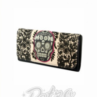 Retro Glam - Loungefly Pink Lace Skull Wallet