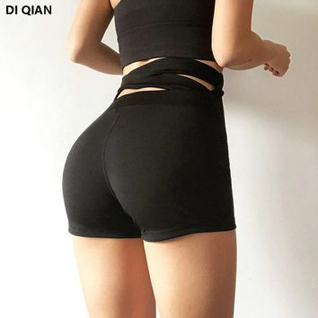 DIQIAN High waist compression women yoga shorts Cross back sexy workout shorts Widen waist Solid push up running athletic shorts