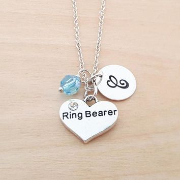 Ring Bearer Charm Necklace -  Birthstone Necklace - Personalized Gift - Initial Necklace - Sterling Silver Jewelry - Gift for Her