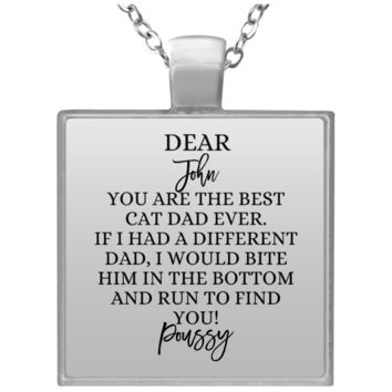 Funny Father's Day Gift For Dad From Wife, Daughter, Son, Stepdaughter, Stepson, Mom, Grandma, Mother In Law (UN4684 Square Necklace)