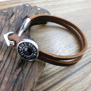 Real Soft Brown Leather Bracelet, personalized pendant leather bracelet,  women cuff bracelet men leather bracelet unisex bracelet  S062