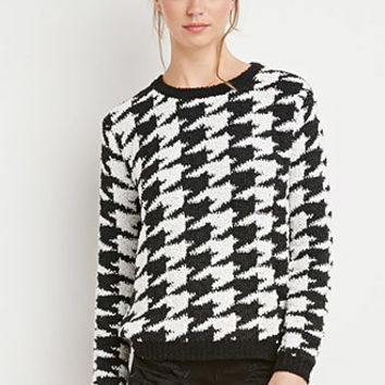 Houndstooth Ball-Knit Sweater