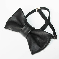 Real Leather Black Bow Tie Dickie Bow Bowtie Leather Bow Tie Wedding Bow Tie Groomsmen Bow Tie Man Men Lady Gift BowTie4You
