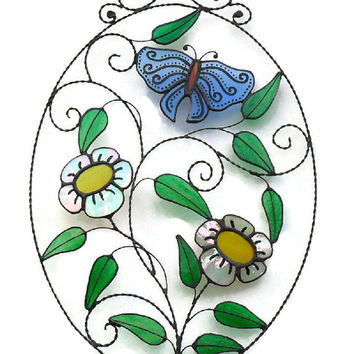 Stained Glass Butterfly Suncatcher, Blue Stained Glass Butterfly & Daisy Suncatcher, Butterfly And Daisy Suncatcher