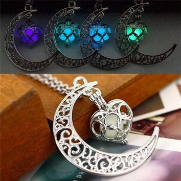 Moon Necklaces  love heart Glow in the Dark Pendant with 48cm chain