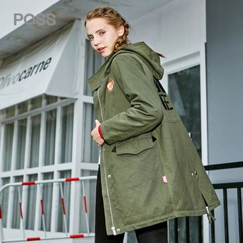 Autumn Winter Women Trench Coat Loose Long Length Green Color Pocket Coat Casual Trench