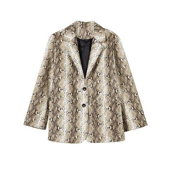 Snake Print PU Leather Blazer
