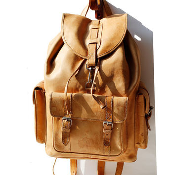 Butter Scotch Tan Leather Backpack Bag
