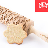 Wolf - Embossed, engraved rolling pin for cookies