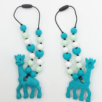 silicone teething giraffe pacifier necklace Hanging Toy -silicone Baby Carrier Teething Accessory -baby teether giraffe Necklace