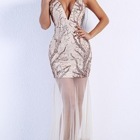 You're My Love Nude Gold Sequin Sheer Mesh Spaghetti Strap Plunge V Neck Maxi Dress