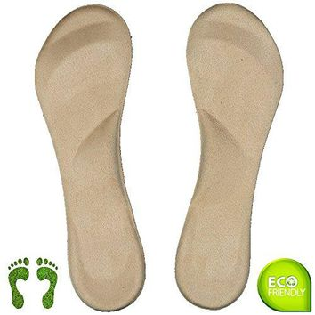 Arch Support Shoe Inserts for Women Flat Feet, Plantar Fasciitis, Ball of Foot Pain Relieve for High Heels or Flat Shoes Suede ( Size 8 or Less )