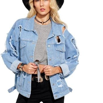 SheIn Autumn Casual Jackets For Women Blue Lapel Long Sleeve Single Breasted Hollow Boyfriend Ripped Denim Jacket