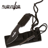 Black Full Tang Survival Fire Starter Hunting Camping Knife w/ Flint