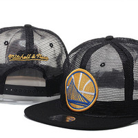 Golden State Warriors Logo Black Net Style with Black Bill Mitchell & Ness Snap Back Hat